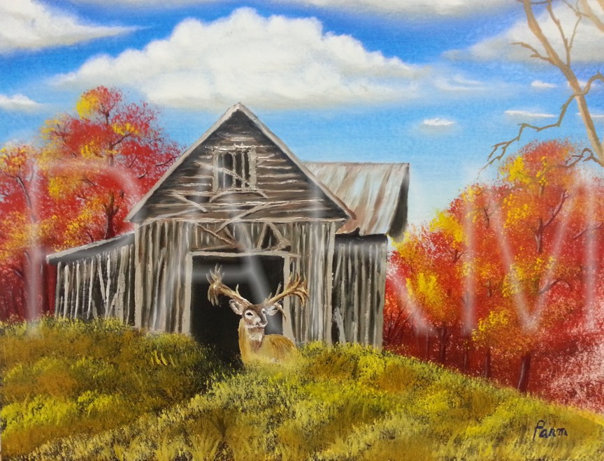 Abandoned Barn With Deer Landscape Painting In Oil On