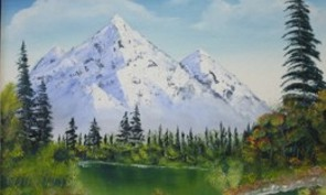 Mountain lake imagination oil painting at Parm